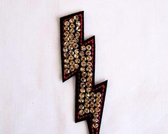 Gold Lightning Patch, Lightning  Emblem,Gold Crystal Lightning Patch with Red  Contour,Handmade