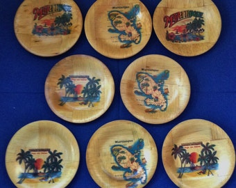 Vintage Martinique Souvenir Wooden Drink Coasters  ~ Set of 8