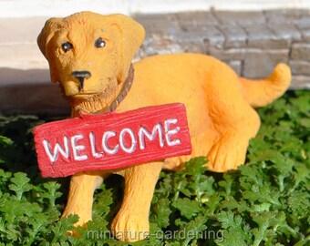 Backyard Dog, Style Options: Dwayne (yellow) for Miniature Garden, Fairy Garden