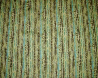 Cotton Fabric, Olive Green And Aqua, Made By Legacy Studios, 1-1/3 Yards