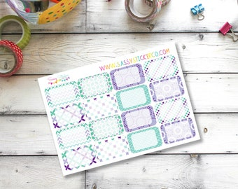 Purple ~ Teal ~ Geometric ~ Floral Write-On Half Box Stickers for Erin Condren Life Planner