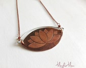 copper and silver long necklace with pendant engraved, stylized flower lotus flower, jewelry, elegant jewelry for her