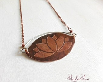 Lotus Flower engraved on copper necklace pendant