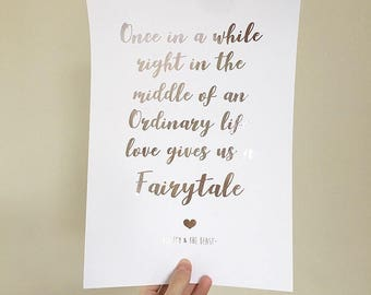 Beauty and the beast print - Walt Disney Foil Print - Disney Print - fairytale foil Print - rose gold home decor - Typography / Calligraphy
