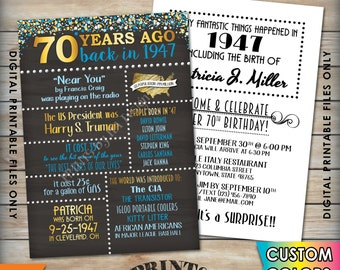 "70th Birthday Invitation 1947 Invite, Born 70 Years Ago in 1947 Birth, Flashback 70 Years Invite, 5x7"" Chalkboard Style PRINTABLE Invitation"