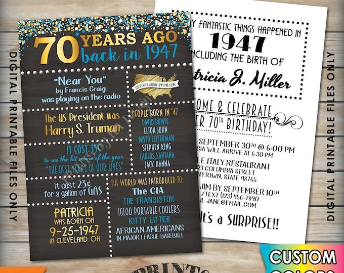 "70th Birthday Invitation 1947 Invite, Born 70 Years Ago in 1947 Birth, Flashback 70 Years Invite, 5x7"" Chalkboard Style Digital Printables"