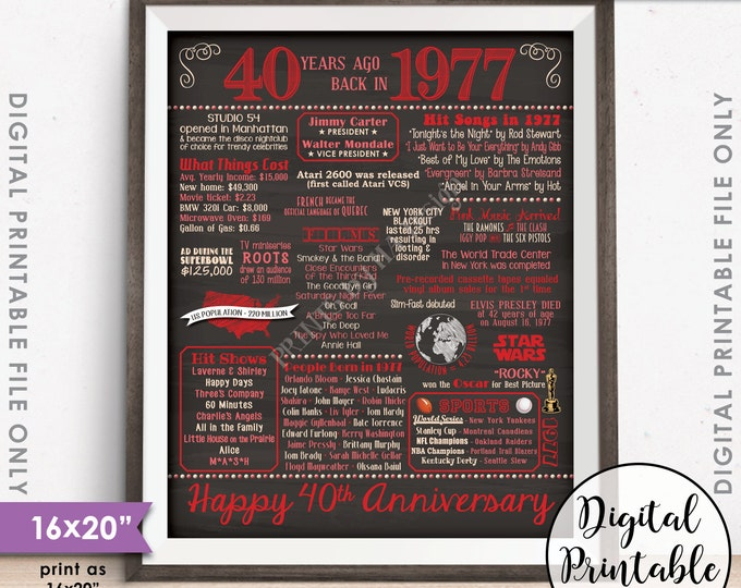 """40th Anniversary Gift 1977 Poster, 40 Years USA Flashback Instant Download 8x10/16x20"""" Married in 1977 40th Chalkboard Style Printable File"""
