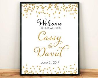 Printable Custom Welcome Wedding Sign Gold Glitter Confetti Golden Welcome Sign Wedding Printable Bridal Shower Baby Shower Gold Sign 300dpi