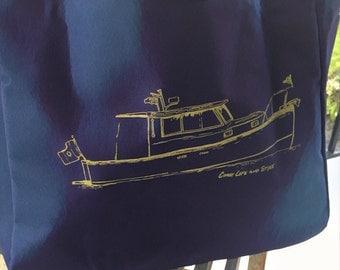 Purple or Pink nautical tote bags.