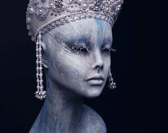 Exclusive handmade WHITE PEARL old Russia style headdress KOKOSHNIK
