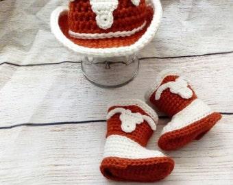 Texas Longhorns cowboy Baby Set. Burnt Orange Cowboy Hat and Boots Set. Baby Gift. Photo Props.