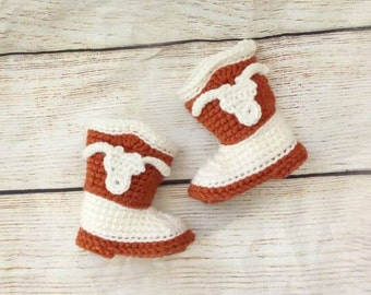 Texas Longhorns Inspired Baby Cowboy Boots. 0-3 months.