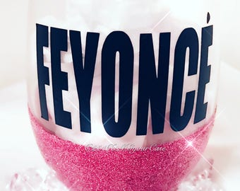 Glitter Stemless Wine Glass  FEYONCE Available in Multiple Colors Gift Wedding Birthday Engagement Party Fiancé