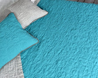 Flax King size quilts, Double sided quilt Turquoise Flax quilted bedspread, linen quilt Natural linen Bedspread bedroom decor King size