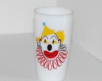 Milk Glass Clown Glass Very Very Cool 1960s Kids Glass