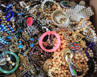 Lot of costume vintage jewelry broken jewelry for crafts or repair 18 lbs