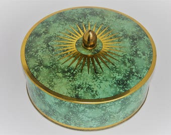 Green and Gold Tin canister Made in England
