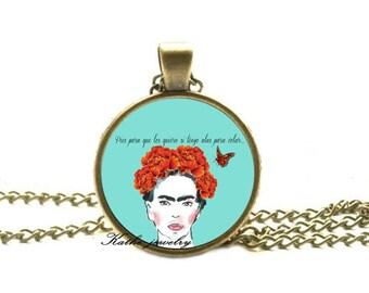 Frida Kahlo necklace Frida Kahlo pendant Frida Kahlo jewelry art pendant charm feminist pendant