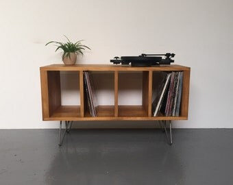 Sonor Small Record Player or TV Stand with Vinyl Storage on Mid Century Hairpin Legs.