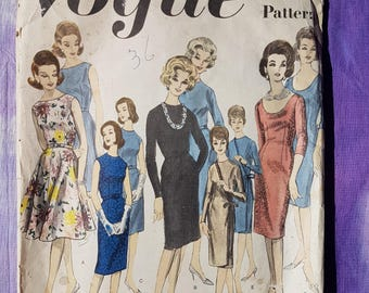 60's Vintage Vogue Basic Dress Sewing Pattern Vogue 3009 Size 16 Bust 36 inches