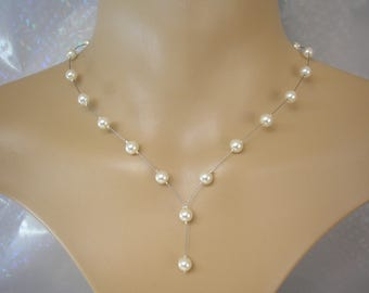 Beatrice ~ Delicate Dainty Coloured 6mm Faux Pearl Drop Necklace, Handmade to order, Choose Colour & Size (40a)