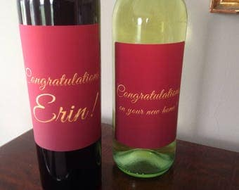 FREE SHIPPING! Congratulations golden text effect wine label. New home, engagement, promotion, graduation, new baby, new job, achievement