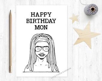rasta birthday card, jamaican birthday card, happy birthday mon, jamaican birthday, dreadlocks card, dreadlocks birthday, rastafarian