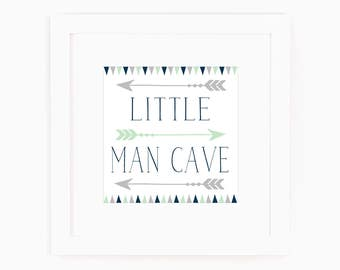 Baby Boy Nursery Decor - Little Man Cave - Navy - Grey - Art with Arrows - Art for little boys - Art for boys room - Art for boys Bathroom