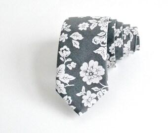 Grey Floral Skinny Tie