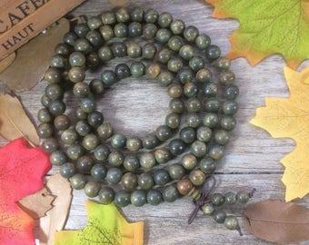 108pcs Natural 8mm PALO SANTO Guaiacumofficimale Green Wood Beads Meditation Prayer Beads Japa Mala Buddha Necklace