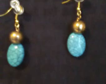 Turquoise Lampwork and Gold Accent Dangle Earrings