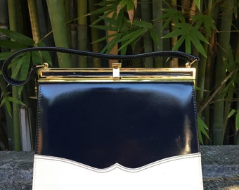 vintage Navy and white patent leather handbag purse top handle by Risque 1960's