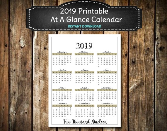 2019 PRINTABLE Elegant Black Calendar / At A Glance / 2019