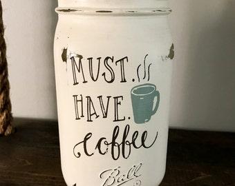 Painted Mason Jar- Coffee Decor- Mason Jar Decor- Mason Jar Vases- Home Decor- Rustic Decor- Farmhouse Decor- Kitchen Decor- Coffee