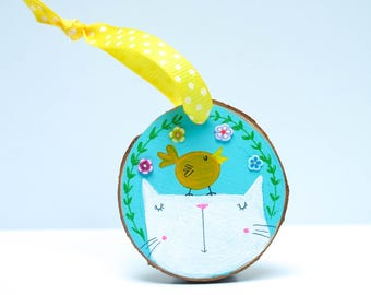 Hand painted Easter Kitty Decoration