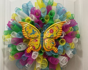 Curly Deco Spring/ Summer Butterfly Wreath