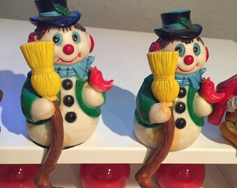 Vintage Snowmen Stocking Holders