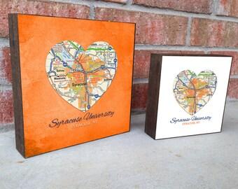 Syracuse University Orange New York Vintage Heart Map ART PRINT on Wooden Canvas, wedding, graduation gift, wall decor