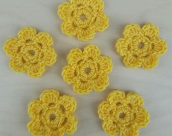 6 Crochet  Flowers for applications / Crochet Applique /  yellow flowers / Crochet Flower Motif