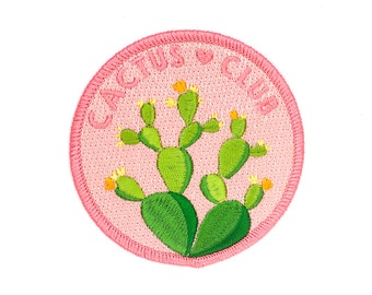 Cactus Club Patch (cactus patch iron on patch flair cute cactus backpack patch cacti plant gift garden embroidered embroidery succulent)