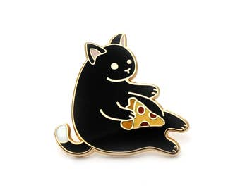 Black Pizza Cat enamel pin (cute cat pin hard enamel pizza pin lapel pin badge kitten pin black cat pepperoni pizza gift cat lover gift)