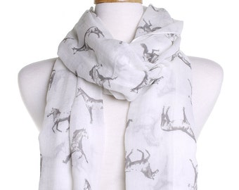 Off White Wild Horses Scarf / Autumn Scarf / Ladies Women Scarves / Wrap Cover Up / Gifts For Her / Ponies Pony Lover / Christmas Present