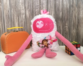 Hug Monster with ribbons, handmade plush, hot pink and pink with monkey print pocket, baby shower, christmas or birthday gift, ready to go.