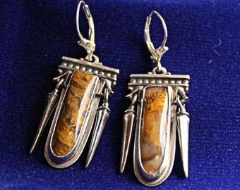 Plume Agate Earrings Handmade Sterling Silver