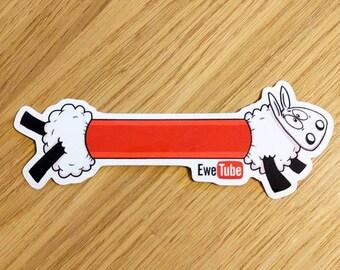 Sheep stickers, EweTube, Laptop stickers, ipad stickers, Funny stickers, Sheep gifts, Animal stickers, Journal stickers, cute stickers