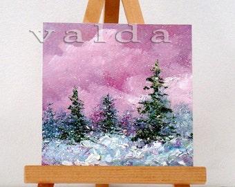 "Winter Wonderland 1. 3x3"",miniature art, gift item, snow scene,includes easel."