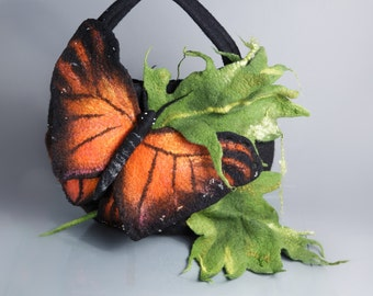 Handbag with butterfly/ Nuno felting / Felted bag / Handmade bag / Wool felted bag / Orange butterfly/ Free shipping.