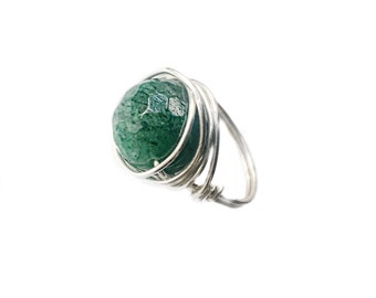 Emerald Silver Ring - Wire Wrapped Ring - Wire Wrapped Jewelry - Emerald Stone - Boho Ring - Wire Jewelry - Wire Wrapped Jewlery