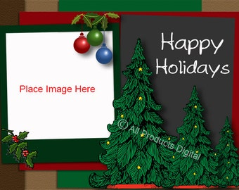 Happy Holidays Template For Christmass Cards