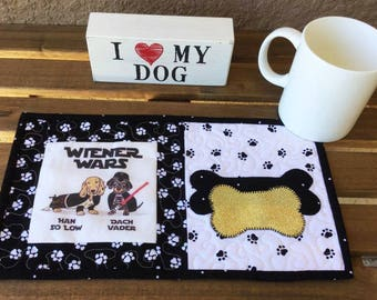 "Doxie Dog Weiner Star Wars™ Mug Rug With ""Han So Low and Dach Vader"" Dachshund Quilted Mug Rug, Dog Snack Mat, Mini Dog Place Mat"